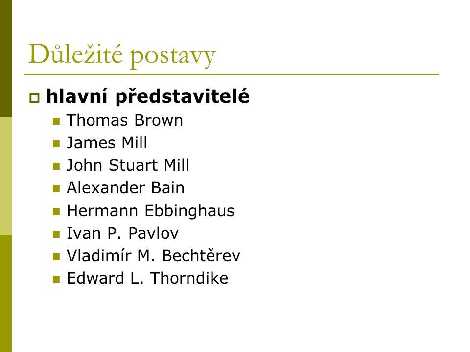 Důležité postavy  hlavní představitelé Thomas Brown James Mill John Stuart Mill Alexander Bain Hermann Ebbinghaus Ivan P.
