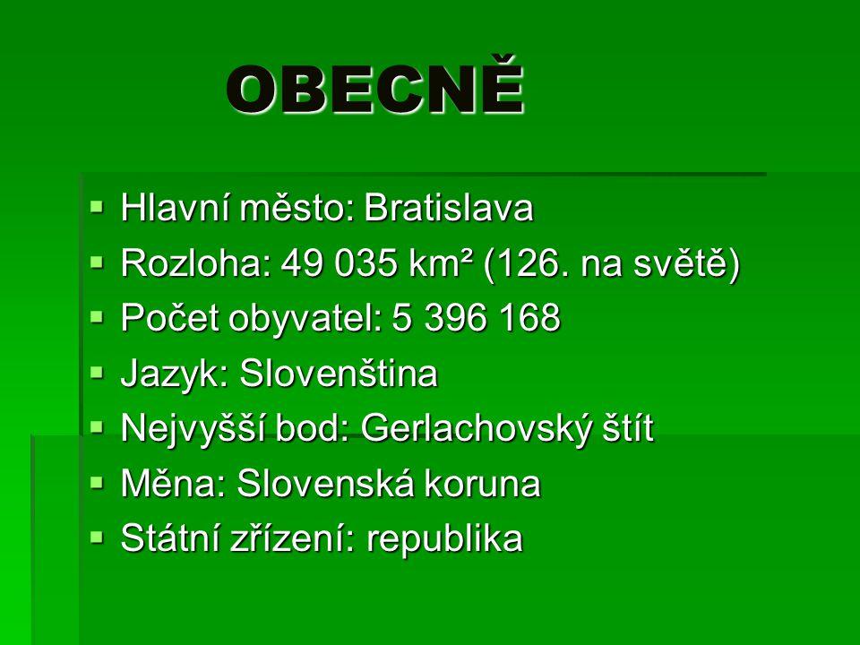 OBECNĚ OBECNĚ  Hlavní město: Bratislava  Rozloha: 49 035 km² (126. na světě)  Počet obyvatel: 5 396 168  Jazyk: Slovenština  Nejvyšší bod: Gerlac