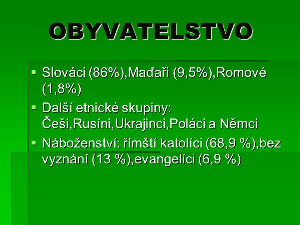 OBYVATELSTVO OBYVATELSTVO  Slováci (86%),Maďaři (9,5%),Romové (1,8%)  Další etnické skupiny: Češi,Rusíni,Ukrajinci,Poláci a Němci  Náboženství: řím