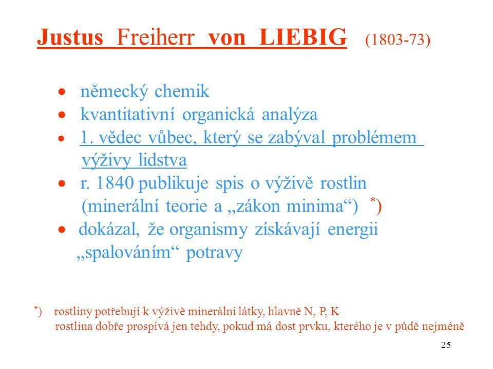 25 Justus Freiherr von LIEBIG (1803-73)  německý chemik  kvantitativní organická analýza  1. vědec vůbec, který se zabýval problémem výživy lidstva