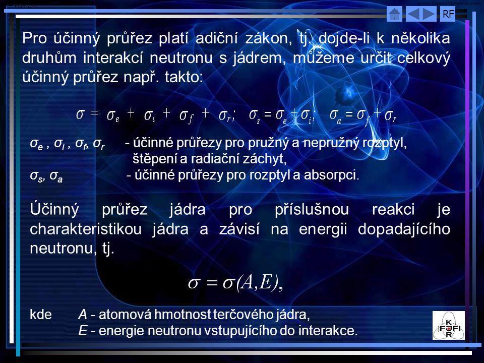 RF σ e, σ i, σ f, σ r ‑ účinné průřezy pro pružný a nepružný rozptyl, štěpení a radiační záchyt, σ s, σ a ‑ účinné průřezy pro rozptyl a absorpci. Úči