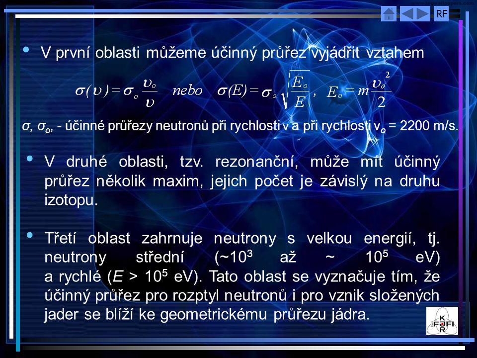 RF V první oblasti můžeme účinný průřez vyjádřit vztahem σ, σ o, ‑ účinné průřezy neutronů při rychlosti ν a při rychlosti ν o = 2200 m/s. V druhé obl