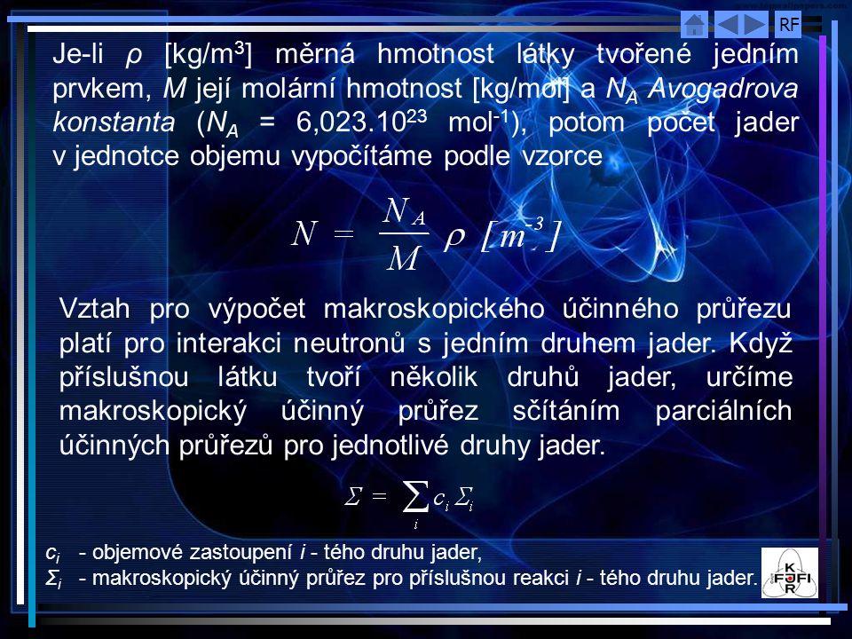 RF Je ‑ li ρ [kg/m 3 ] měrná hmotnost látky tvořené jedním prvkem, M její molární hmotnost [kg/mol] a N A Avogadrova konstanta (N A = 6,023.10 23 mol