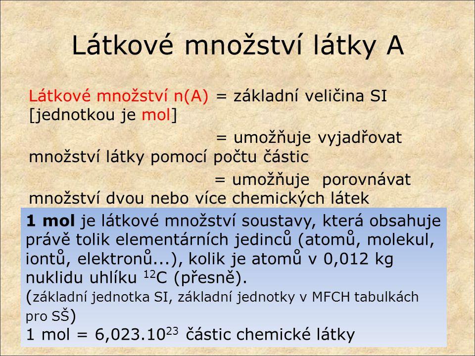 Látkové množství látky A Látkové množství n(A)= základní veličina SI [jednotkou je mol] = umožňuje vyjadřovat množství látky pomocí počtu částic = umo