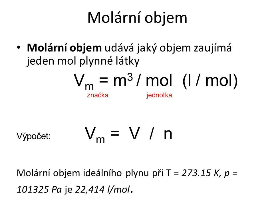 Molární objem Molární objem udává jaký objem zaujímá jeden mol plynné látky V m = m 3 / mol (l / mol) značka jednotka Výpočet: V m = V / n Molární obj