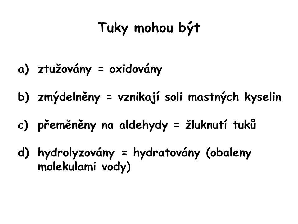Tuky mohou být a)ztužovány = oxidovány b)zmýdelněny = vznikají soli mastných kyselin c)přeměněny na aldehydy = žluknutí tuků d)hydrolyzovány = hydratovány (obaleny molekulami vody)