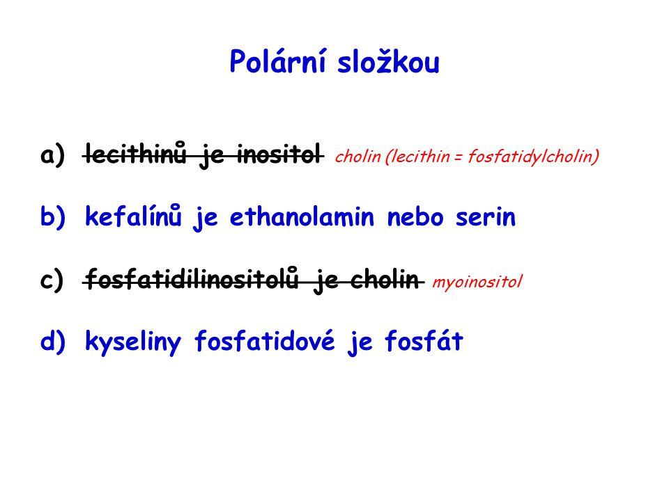 Polární složkou a)lecithinů je inositol cholin (lecithin = fosfatidylcholin) b)kefalínů je ethanolamin nebo serin c)fosfatidilinositolů je cholin myoinositol d)kyseliny fosfatidové je fosfát