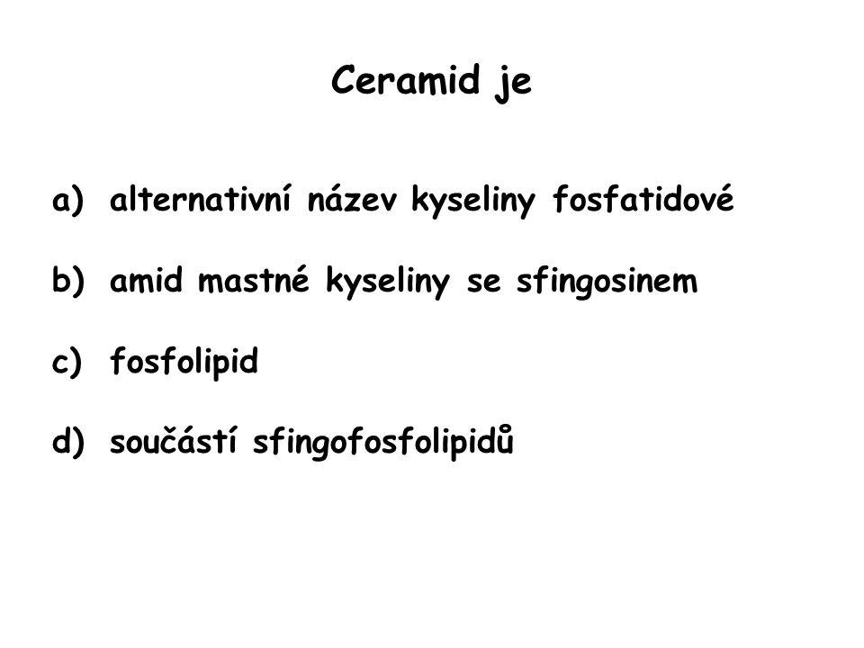 Ceramid je a)alternativní název kyseliny fosfatidové b)amid mastné kyseliny se sfingosinem c)fosfolipid d)součástí sfingofosfolipidů