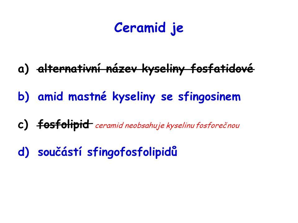 Ceramid je a)alternativní název kyseliny fosfatidové b)amid mastné kyseliny se sfingosinem c)fosfolipid ceramid neobsahuje kyselinu fosforečnou d)součástí sfingofosfolipidů
