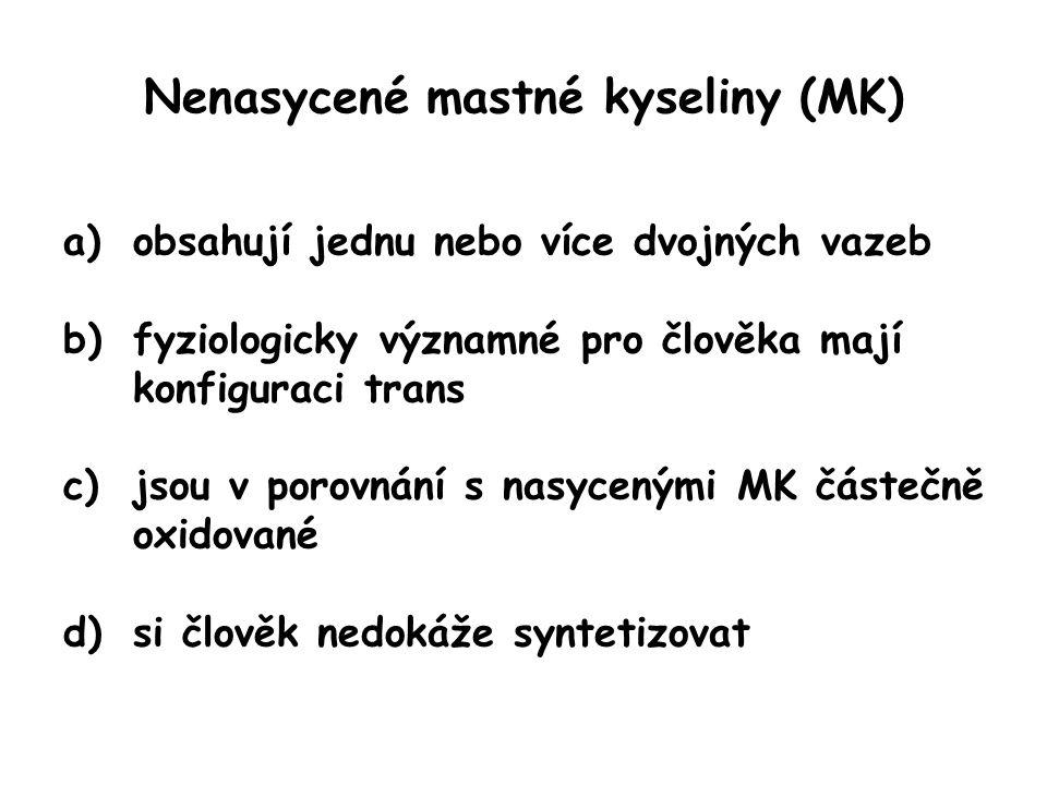 Nenasycené mastné kyseliny (MK) a)obsahují jednu nebo více dvojných vazeb b)fyziologicky významné pro člověka mají konfiguraci trans cis c)jsou v porovnání s nasycenými MK částečně oxidované -CH=CH- obsahuje méně H než –CH 2 -CH 2 - d)si člověk nedokáže syntetizovat některé ano, tj.