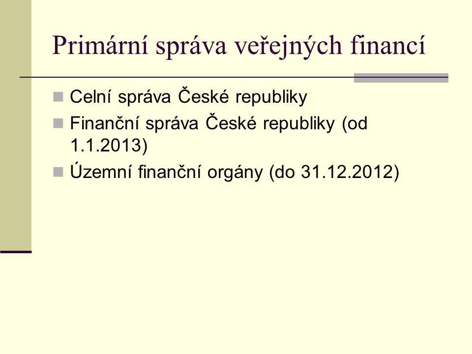 Primární správa veřejných financí Celní správa České republiky Finanční správa České republiky (od 1.1.2013) Územní finanční orgány (do 31.12.2012)