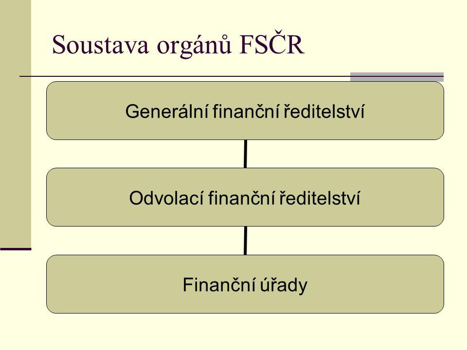 Soustava orgánů FSČR Generální finanční ředitelství Odvolací finanční ředitelství Finanční úřady