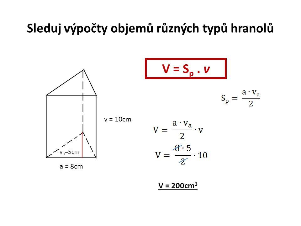 Sleduj výpočty objemů různých typů hranolů a = 8cm v = 10cm v a =5cm V = S p. v V = 200cm 3