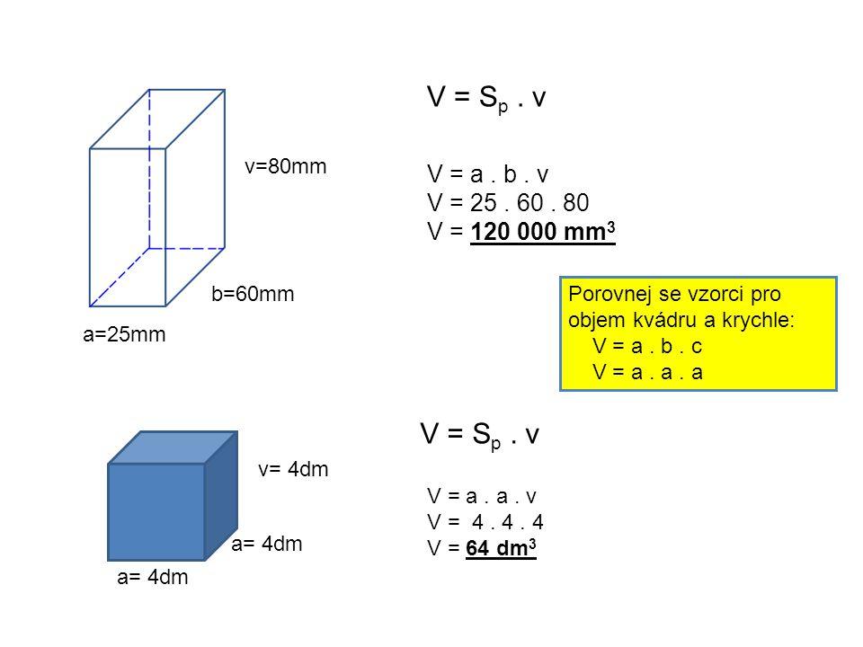 a=25mm b=60mm v=80mm a= 4dm v= 4dm V = S p. v V = a.