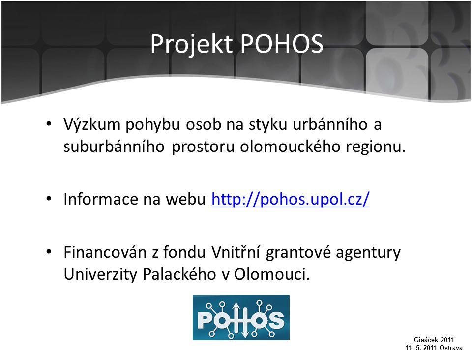 Projekt POHOS Výzkum pohybu osob na styku urbánního a suburbánního prostoru olomouckého regionu.