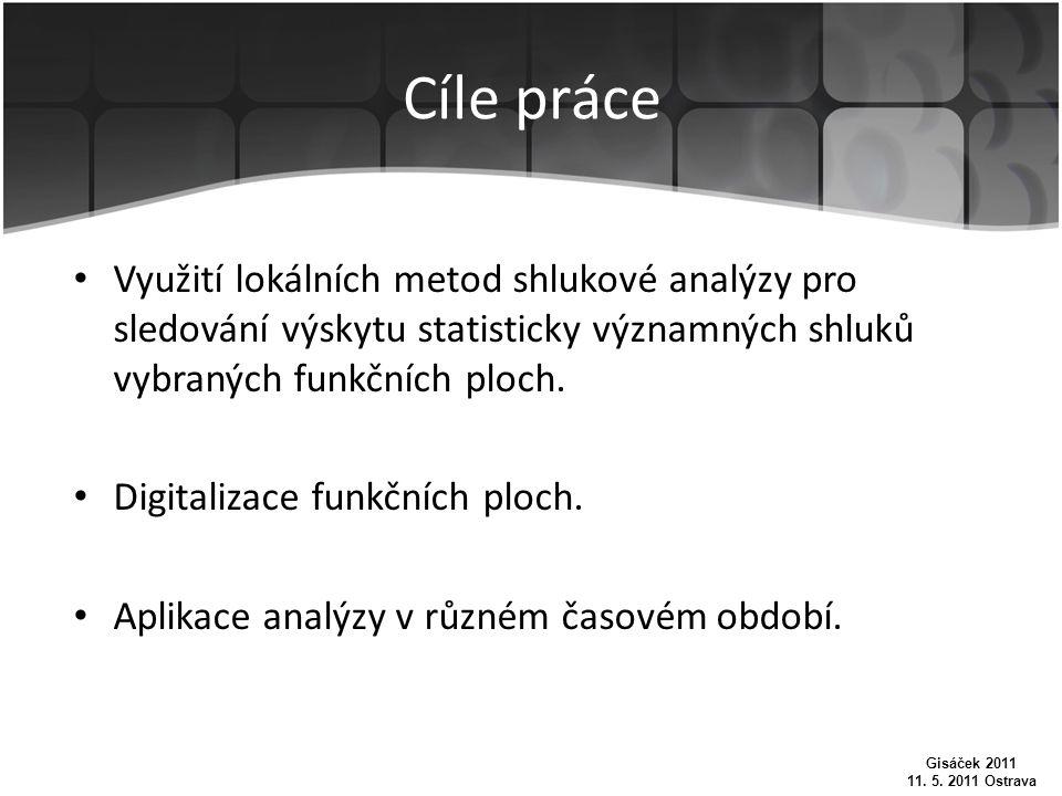 Cíle práce Využití lokálních metod shlukové analýzy pro sledování výskytu statisticky významných shluků vybraných funkčních ploch.