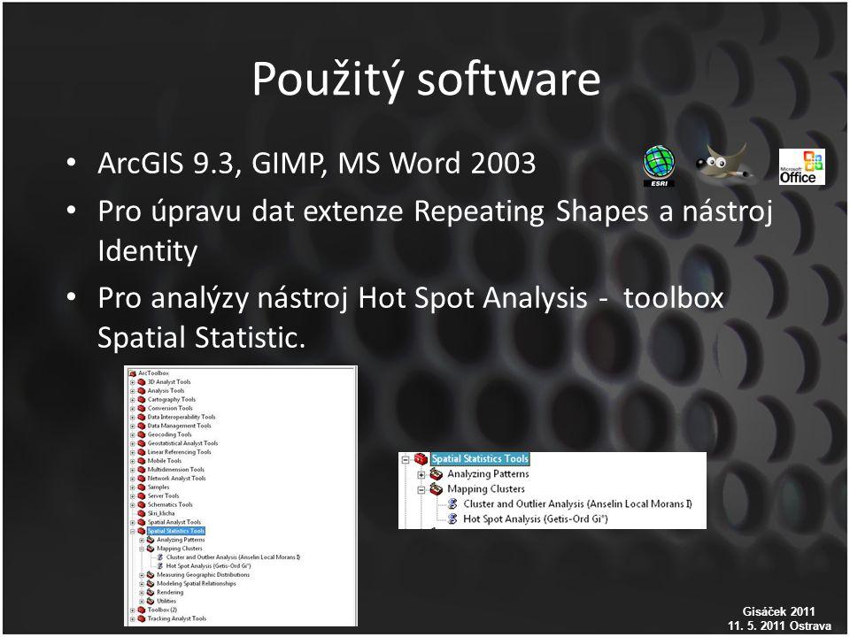 Použitý software ArcGIS 9.3, GIMP, MS Word 2003 Pro úpravu dat extenze Repeating Shapes a nástroj Identity Pro analýzy nástroj Hot Spot Analysis - toolbox Spatial Statistic.