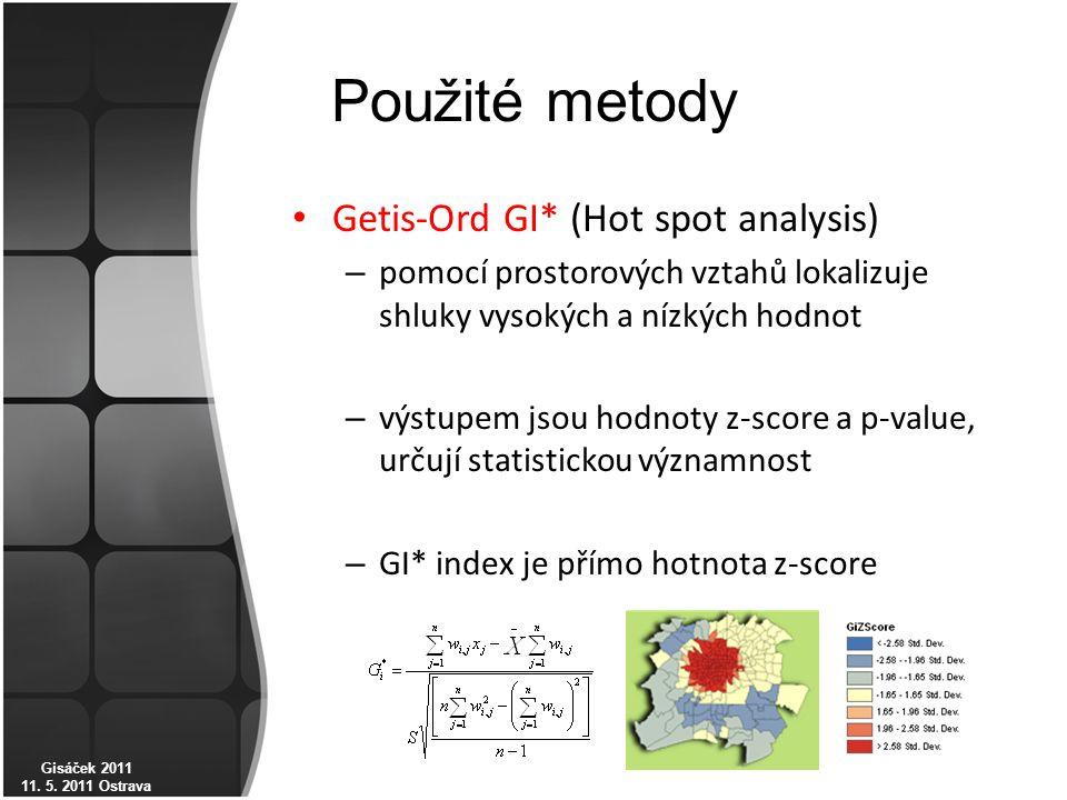Použité metody Getis-Ord GI* (Hot spot analysis) – pomocí prostorových vztahů lokalizuje shluky vysokých a nízkých hodnot – výstupem jsou hodnoty z-score a p-value, určují statistickou významnost – GI* index je přímo hotnota z-score Gisáček 2011 11.