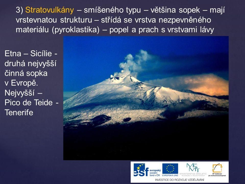 3) Stratovulkány – smíšeného typu – většina sopek – mají vrstevnatou strukturu – střídá se vrstva nezpevněného materiálu (pyroklastika) – popel a prach s vrstvami lávy Etna – Sicílie - druhá nejvyšší činná sopka v Evropě.