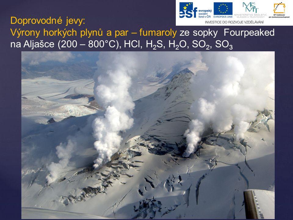 Doprovodné jevy: Výrony horkých plynů a par – fumaroly ze sopky Fourpeaked na Aljašce (200 – 800°C), HCl, H 2 S, H 2 O, SO 2, SO 3