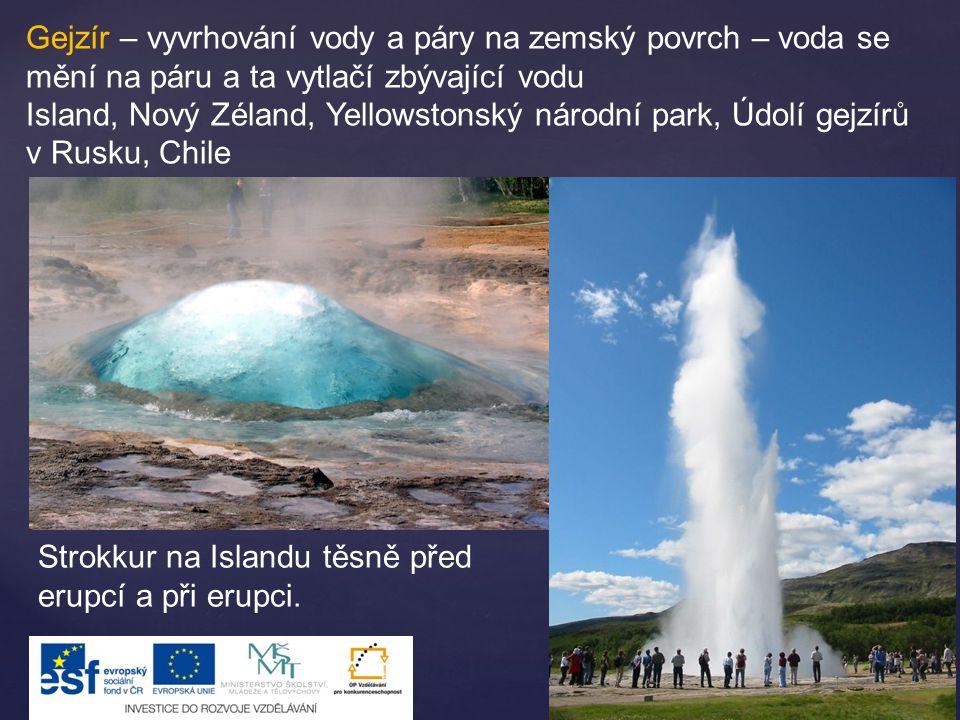 Gejzír – vyvrhování vody a páry na zemský povrch – voda se mění na páru a ta vytlačí zbývající vodu Island, Nový Zéland, Yellowstonský národní park, Ú