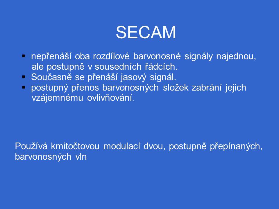 SECAM  nepřenáší oba rozdílové barvonosné signály najednou, ale postupně v sousedních řádcích.