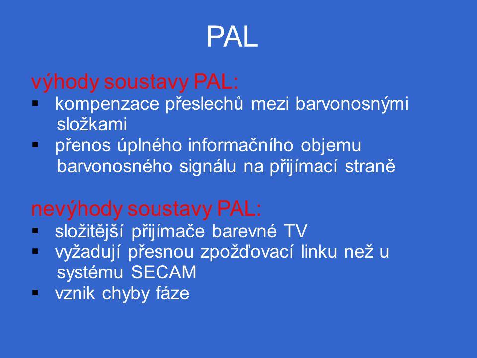 PAL výhody soustavy PAL:  kompenzace přeslechů mezi barvonosnými složkami  přenos úplného informačního objemu barvonosného signálu na přijímací straně nevýhody soustavy PAL:  složitější přijímače barevné TV  vyžadují přesnou zpožďovací linku než u systému SECAM  vznik chyby fáze