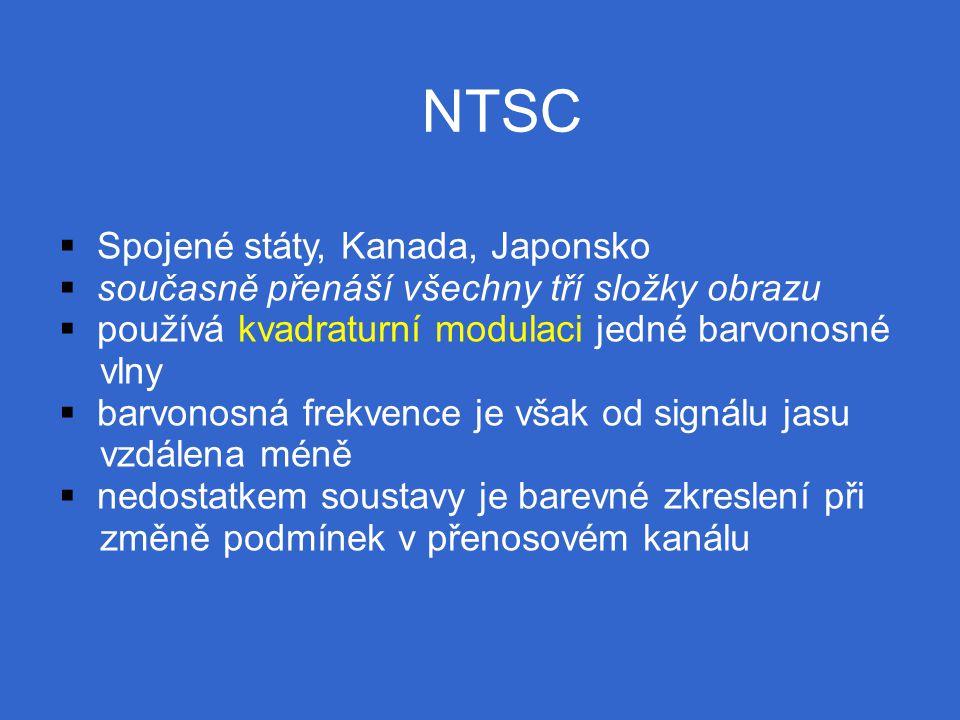 NTSC  Spojené státy, Kanada, Japonsko  současně přenáší všechny tří složky obrazu  používá kvadraturní modulaci jedné barvonosné vlny  barvonosná frekvence je však od signálu jasu vzdálena méně  nedostatkem soustavy je barevné zkreslení při změně podmínek v přenosovém kanálu