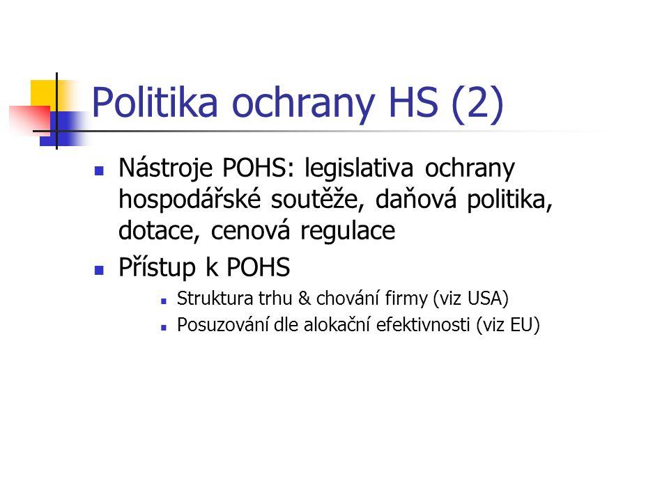 Politika ochrany HS (2) Nástroje POHS: legislativa ochrany hospodářské soutěže, daňová politika, dotace, cenová regulace Přístup k POHS Struktura trhu & chování firmy (viz USA) Posuzování dle alokační efektivnosti (viz EU)