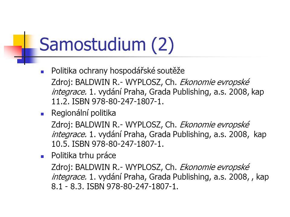Samostudium (2) Politika ochrany hospodářské soutěže Zdroj: BALDWIN R.- WYPLOSZ, Ch.