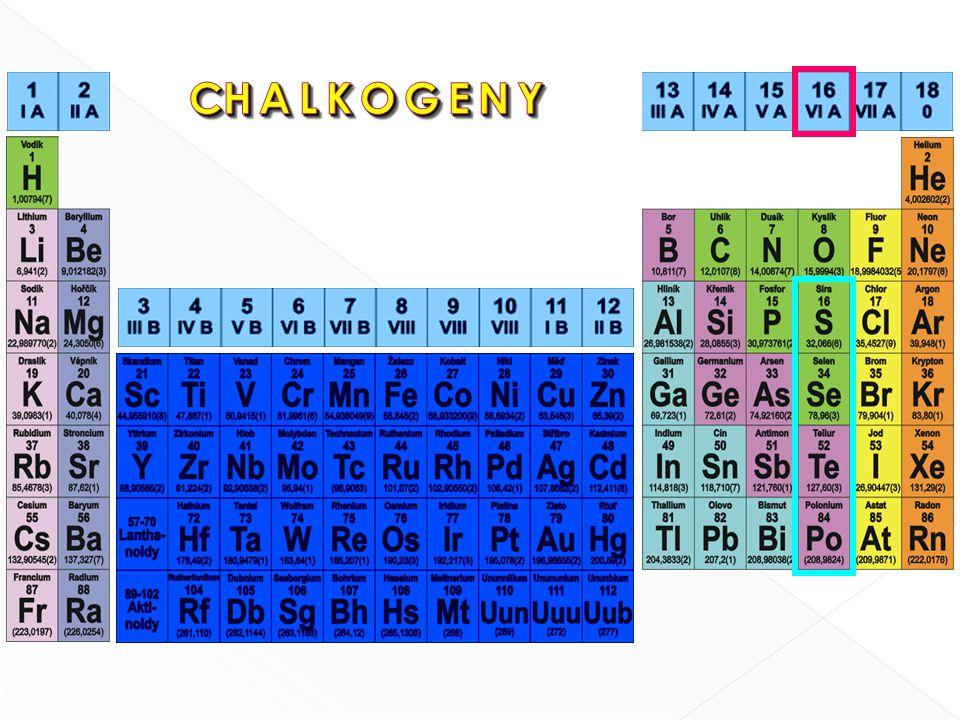 a) Selenidy: Cu 2 Se, Ag 2 Se, Al 2 Se 3 b) Oxidy: SeO 2, SeO 3 c) Kyseliny: H 2 SeO 3, H 2 SeO 4 Vyžití : Vyžití : fotočlánek, expozimetr, xerox výživa - obvykle doprovází síru a tellur v jejich sloučeninách - získáván z odpadů po spalování síry při výrobě kyseliny sírové Sloučeniny: