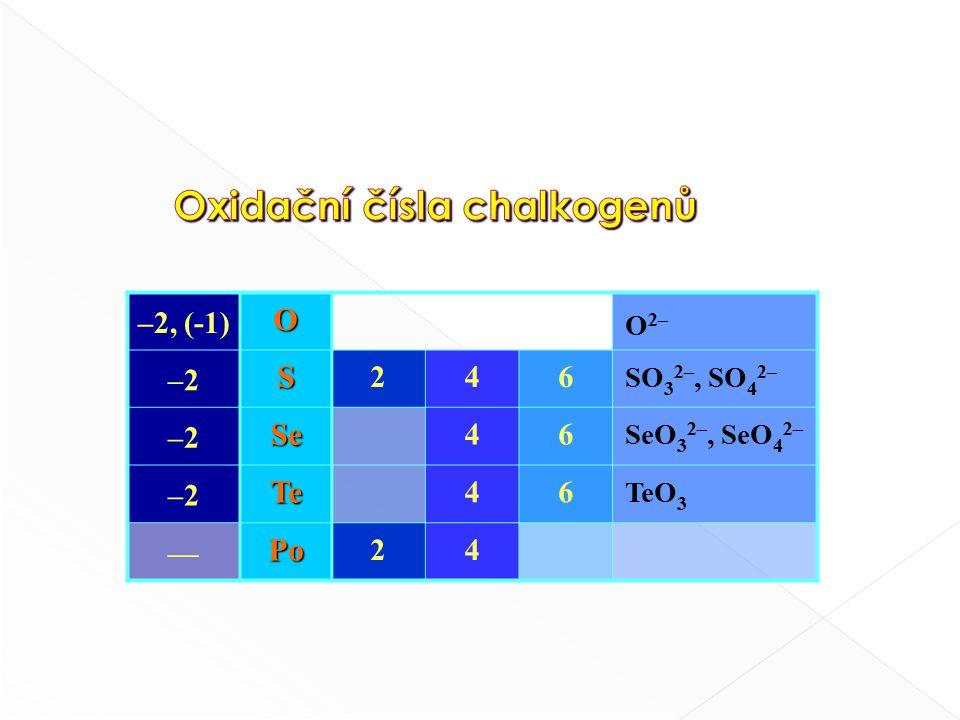 podobnost podobnost SF 6 —— TeF 6 SCl 4 —— TeCl 4. S, Se, Te + O 2  SO 2, SeO 2, TeO 2