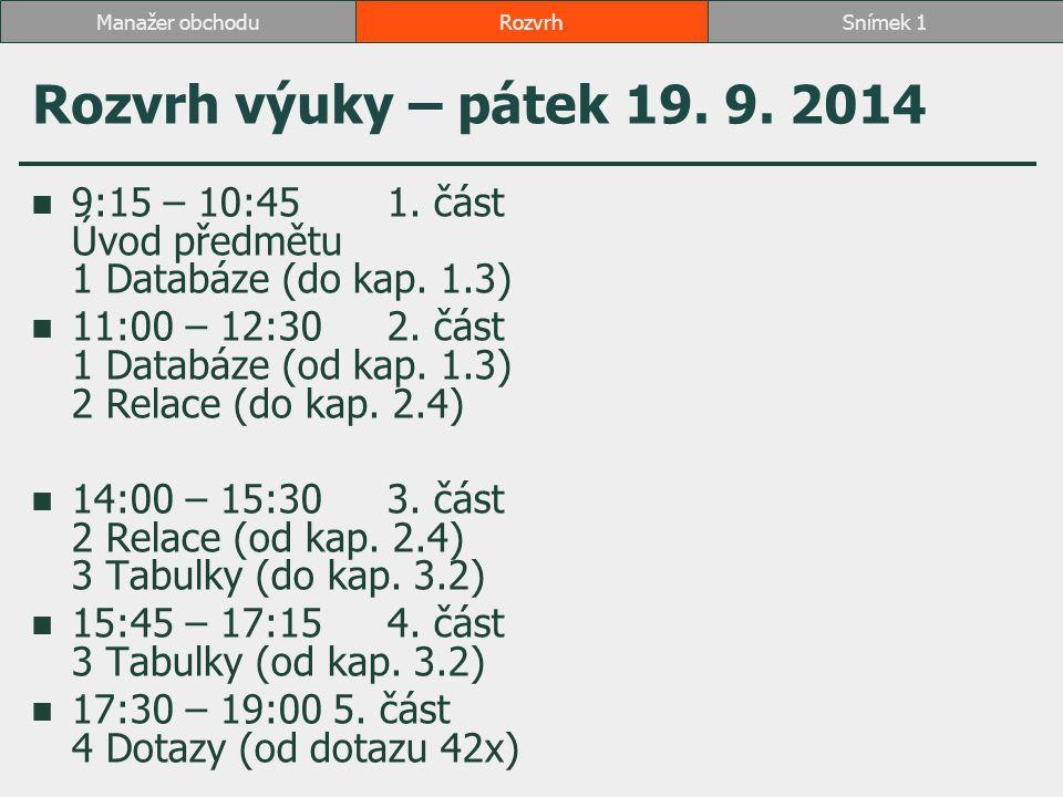 Rozvrh výuky – pátek 19. 9. 2014 9:15 – 10:451. část Úvod předmětu 1 Databáze (do kap.