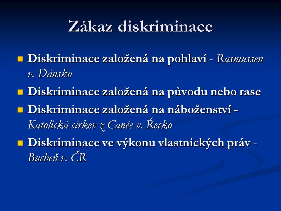 Zákaz diskriminace Diskriminace založená na pohlaví - Rasmussen v.