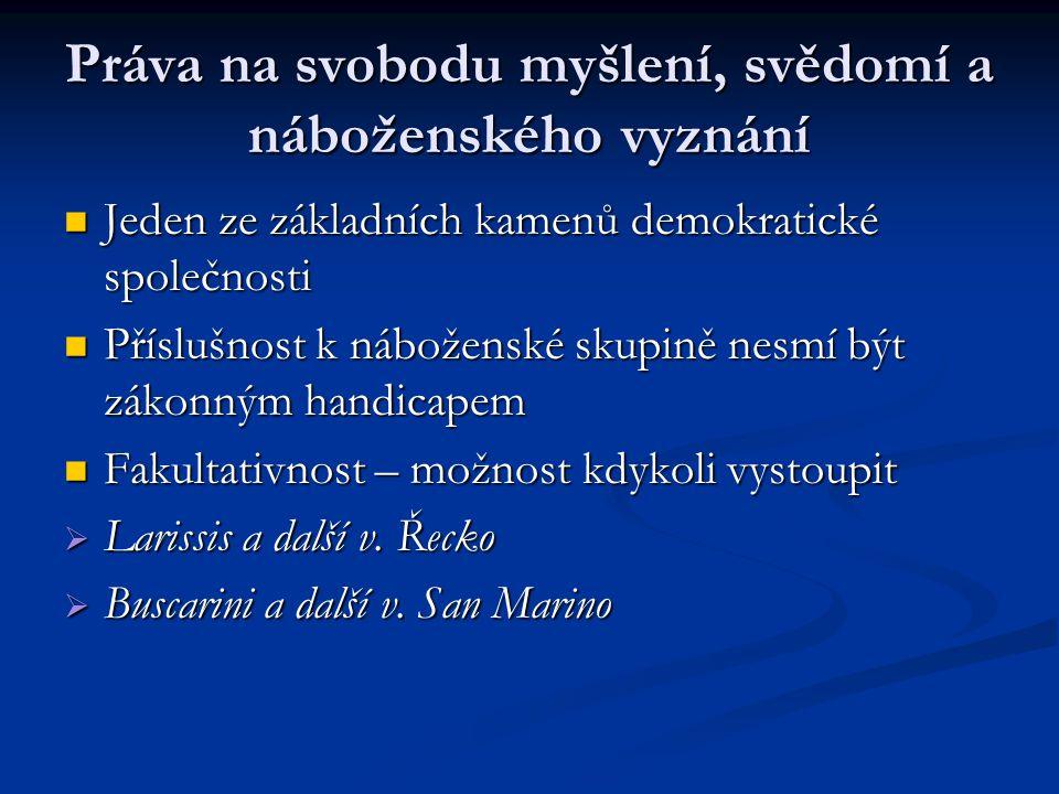 Právo na svobodu projevu Jednou z nejdůležitějších zásad demokratické společnosti, podmínka pro rozvoj jednotlivce.