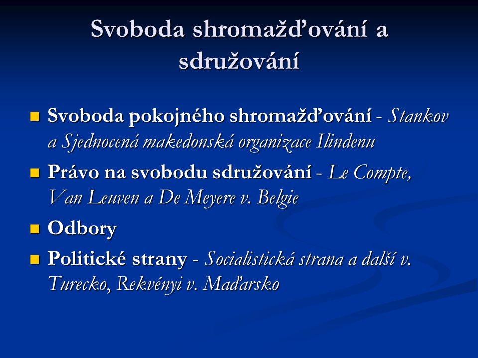 Svoboda shromažďování a sdružování Svoboda pokojného shromažďování - Stankov a Sjednocená makedonská organizace Ilindenu Svoboda pokojného shromažďování - Stankov a Sjednocená makedonská organizace Ilindenu Právo na svobodu sdružování - Le Compte, Van Leuven a De Meyere v.