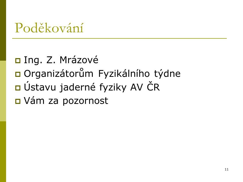 11 Poděkování  Ing. Z. Mrázové  Organizátorům Fyzikálního týdne  Ústavu jaderné fyziky AV ČR  Vám za pozornost