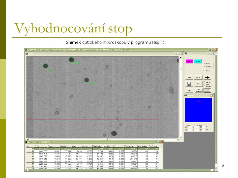 6 Vyhodnocování stop Snímek optického mikroskopu v programu HspFit