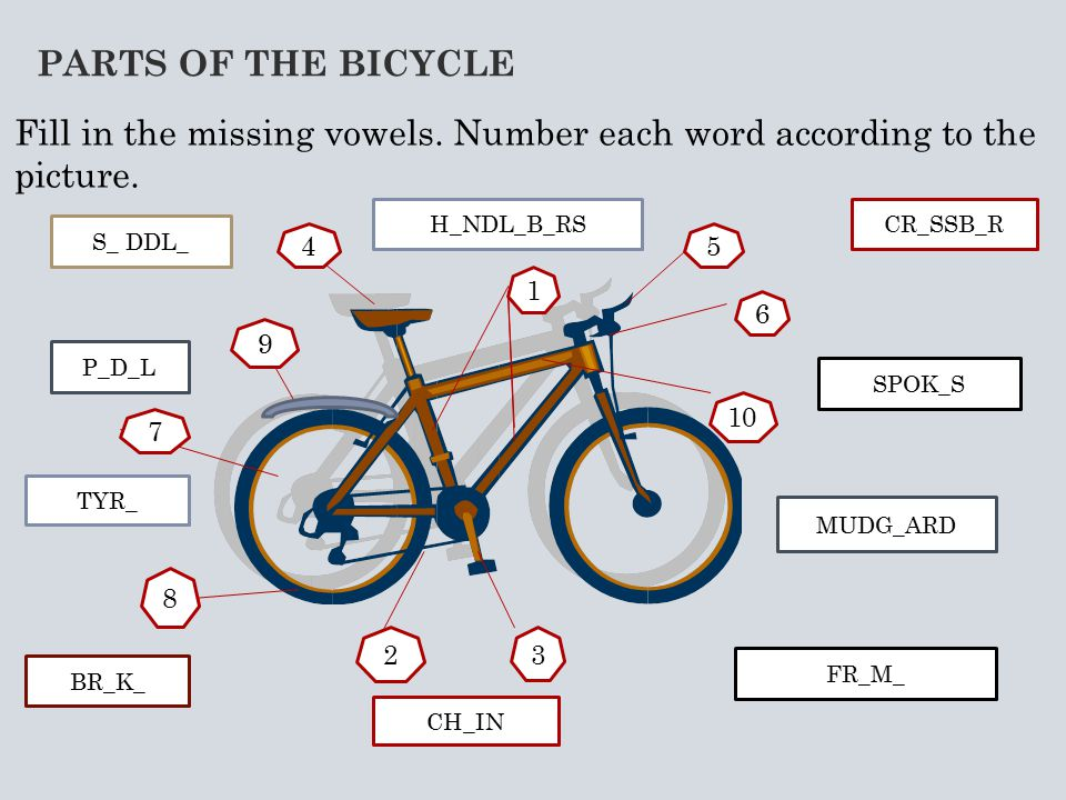 PARTS OF THE BICYCLE Fill in the missing vowels. Number each word according to the picture.