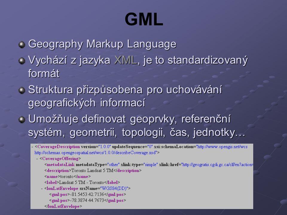 GML Geography Markup Language Vychází z jazyka XML, je to standardizovaný formát Struktura přizpůsobena pro uchovávání geografických informací Umožňuje definovat geoprvky, referenční systém, geometrii, topologii, čas, jednotky…