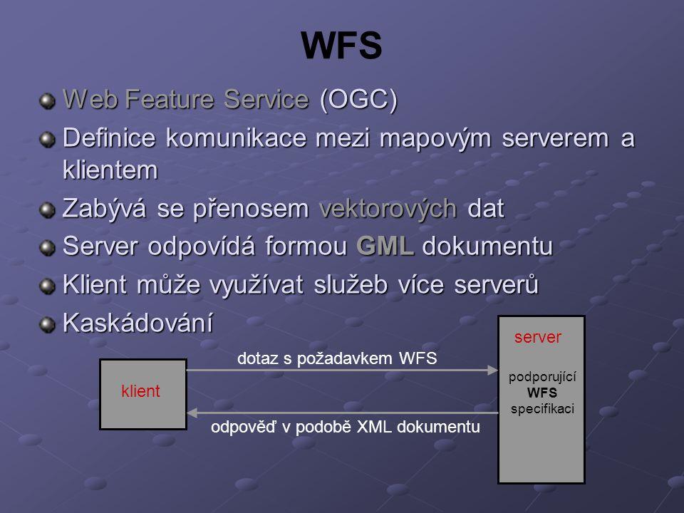 WFS Web Feature Service (OGC) Definice komunikace mezi mapovým serverem a klientem Zabývá se přenosem vektorových dat Server odpovídá formou GML dokumentu Klient může využívat služeb více serverů Kaskádování server klient dotaz s požadavkem WFS podporující WFS specifikaci odpověď v podobě XML dokumentu