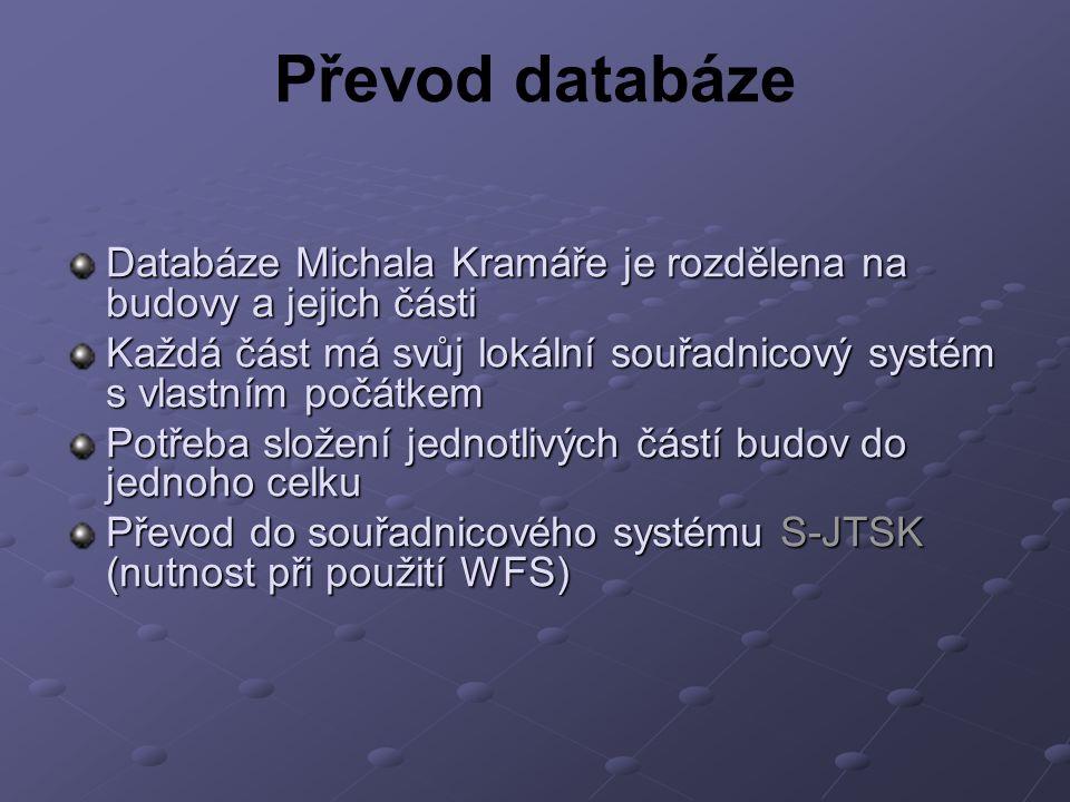 Databáze Michala Kramáře je rozdělena na budovy a jejich části Každá část má svůj lokální souřadnicový systém s vlastním počátkem Potřeba složení jednotlivých částí budov do jednoho celku Převod do souřadnicového systému S-JTSK (nutnost při použití WFS) Převod databáze