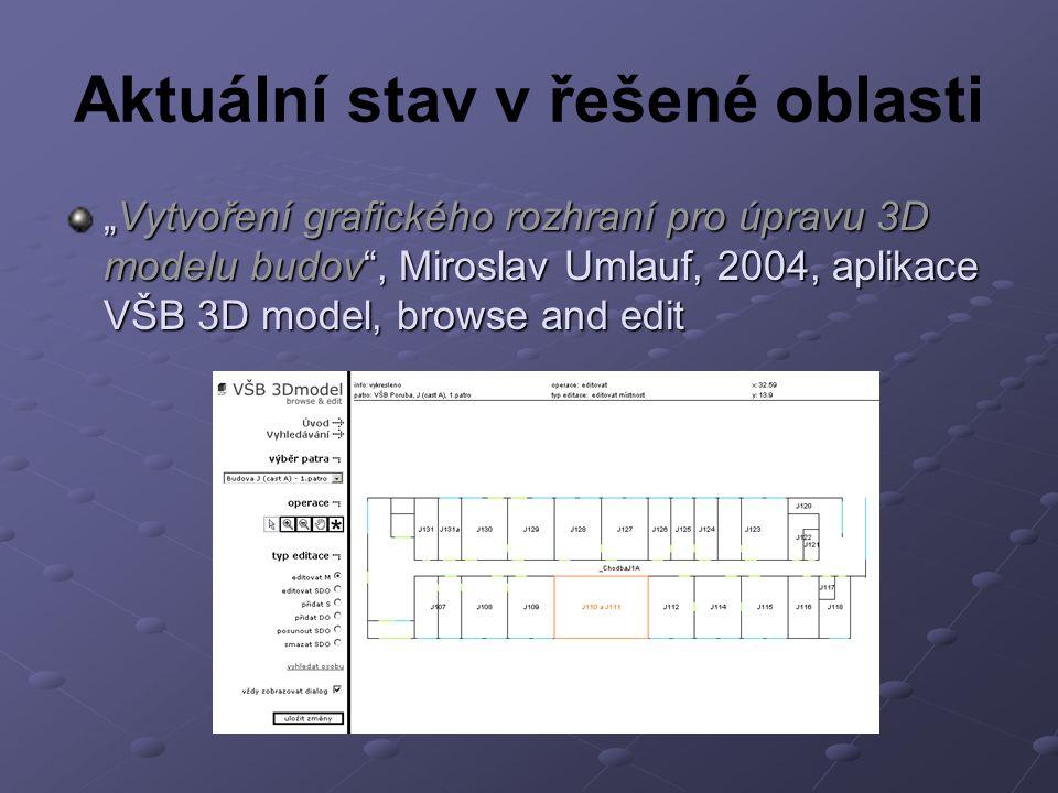 """Aktuální stav v řešené oblasti """"Vytvoření grafického rozhraní pro úpravu 3D modelu budov , Miroslav Umlauf, 2004, aplikace VŠB 3D model, browse and edit"""