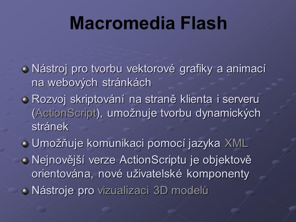 Macromedia Flash Nástroj pro tvorbu vektorové grafiky a animací na webových stránkách Rozvoj skriptování na straně klienta i serveru (ActionScript), umožnuje tvorbu dynamických stránek Umožňuje komunikaci pomocí jazyka XML Nejnovější verze ActionScriptu je objektově orientována, nové uživatelské komponenty Nástroje pro vizualizaci 3D modelů
