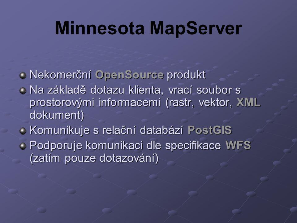 Minnesota MapServer Nekomerční OpenSource produkt Na základě dotazu klienta, vrací soubor s prostorovými informacemi (rastr, vektor, XML dokument) Komunikuje s relační databází PostGIS Podporuje komunikaci dle specifikace WFS (zatím pouze dotazování)