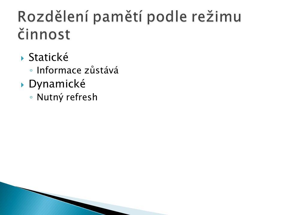  Napěťově závislé – volatilní  Napěťově nezávislé - nevolatilní RAM PROM EPROM FLASH