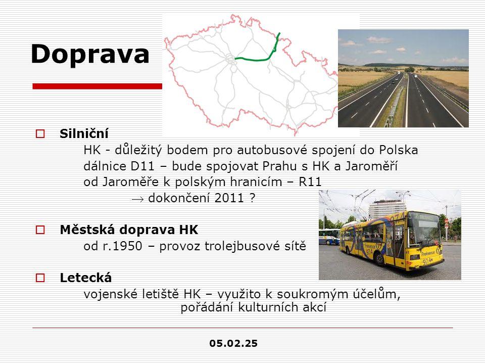 Doprava  Silniční HK - důležitý bodem pro autobusové spojení do Polska dálnice D11 – bude spojovat Prahu s HK a Jaroměří od Jaroměře k polským hranicím – R11  dokončení 2011 .