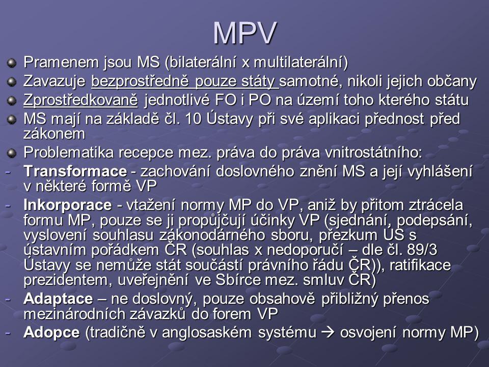 MPV Pramenem jsou MS (bilaterální x multilaterální) Zavazuje bezprostředně pouze státy samotné, nikoli jejich občany Zprostředkovaně jednotlivé FO i PO na území toho kterého státu MS mají na základě čl.
