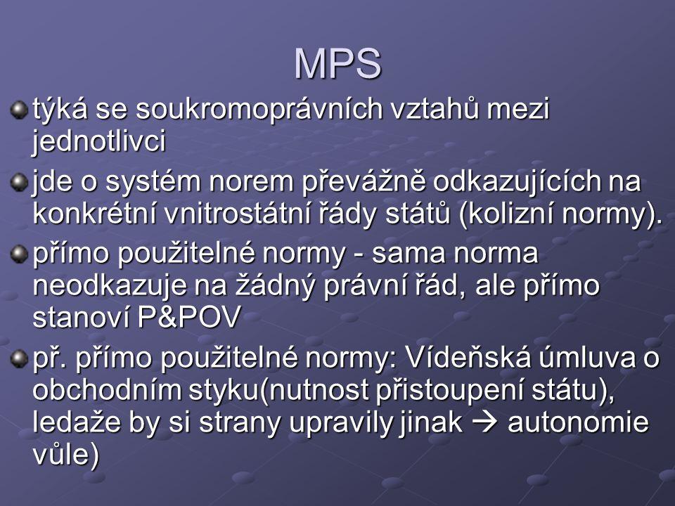 MPS týká se soukromoprávních vztahů mezi jednotlivci jde o systém norem převážně odkazujících na konkrétní vnitrostátní řády států (kolizní normy).