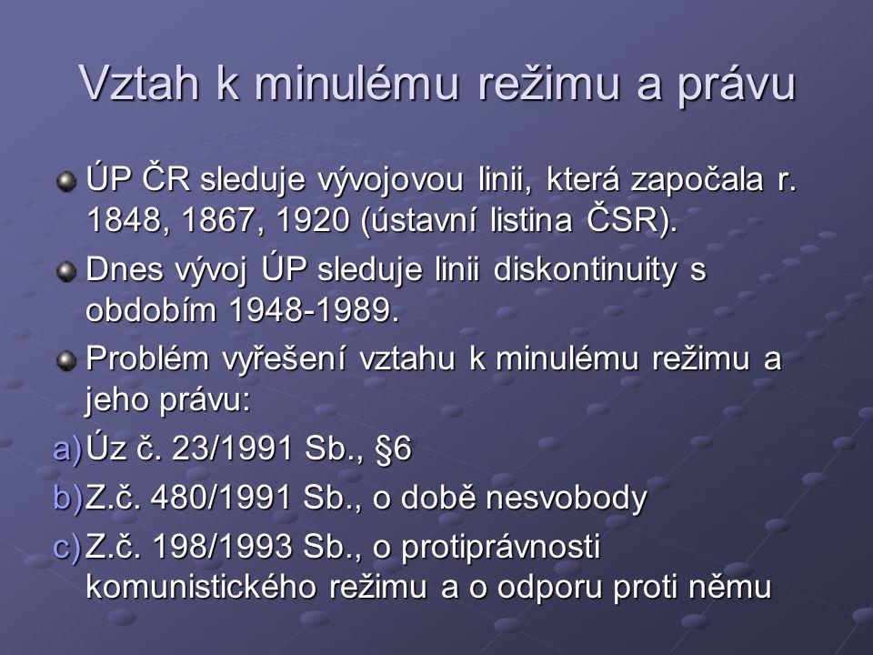 Vztah k minulému režimu a právu ÚP ČR sleduje vývojovou linii, která započala r.